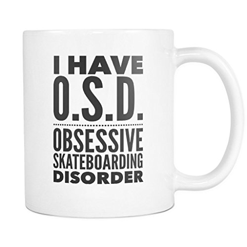 ArtsyMod OSD OBSESSIVE SKATEBOARDING DISORDER Typography Premium Coffee Mug, PERFECT FUN GIFT for the Skateboarding Lover! Attractive Durable White Ceramic Mug (15oz., Black Print) (Black V2 Race Helmet)