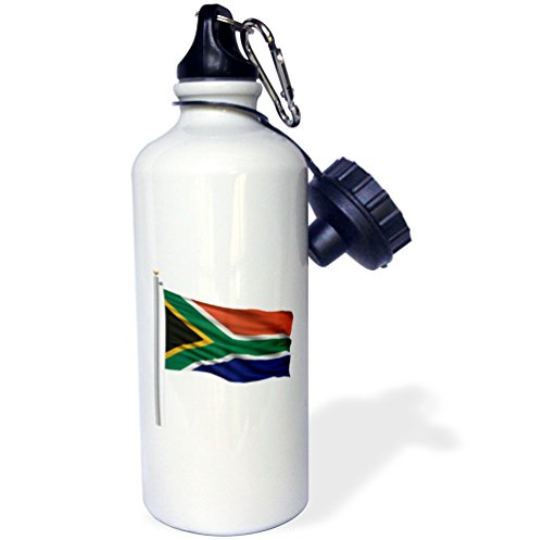 3dRose wb_157271_1 ''Flag of South Africa on a flag pole over white African'' Sports Water Bottle, 21 oz, White by 3dRose