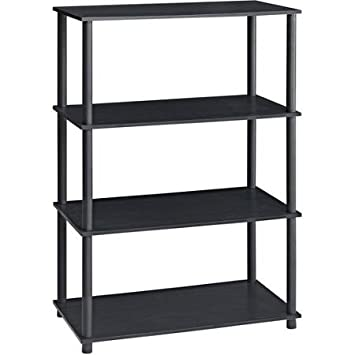 Mainstay No Tools 6-Cube Storage Shelf Includes Four Shelves Capable of Housing Cubes, Books, Decorative Items and More – Holds Storage Cubes – No Tools Require for Assembly Black Oak