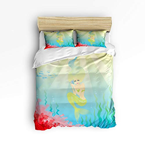 YEHO Art Gallery , A Green Beauty Meimaid in The Deep Sea Pattern Cute 3 Piece Duvet Cover Sets for Boys Girls, Cute Decorative Bedding Set Include 1 Comforter Cover with 2 Pillow Cases Twin Size