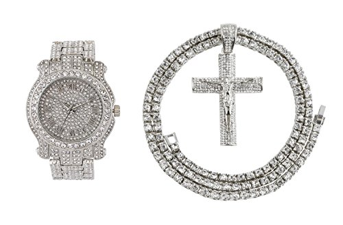 Iced Out Metal Band Bling Watch & Iced Out Cross Pendant with Matching 24 inch One Row Tennis Necklace Gift Set (Silver) (Watch Set Pendant Silver)