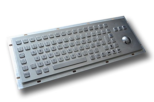Panel Mount Stainless Steel Keyboard with Mechanical Trackball (38mm) - 86 Keys - USB or PS2