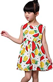 Rolanko Little Girls Sleeveless Dress, Cotton Casual Print Floral Sundress Kids Dresses