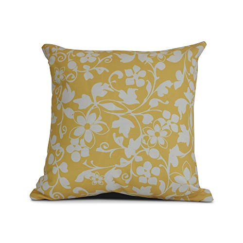 E by design Evelyn Floral Print Pillow 20 x 20 Yellow