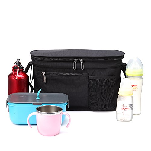 Stroller Organizer, Insulated Cooler Bag with Diaper Bag for Pram Jogging Umbrella Strollers (Insulated Stroller Organizer)