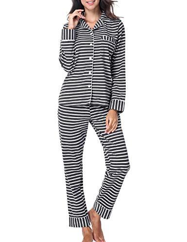 Striped Womens Pajamas - RIKILIO Women's Striped Pajama Sets Button Down Sleepwear Tops with Pant (Gray Strip,L)