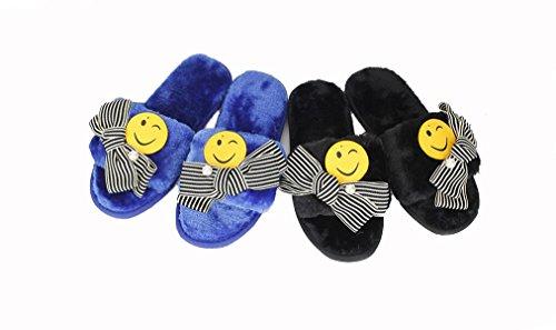 Beauqueen Hiver et automne garder chaud visage souriant nœud papillon flip flop plat talon femmes pantoufles , blue smiling face bow knot plush , 38