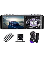 4.1 Inch Car Stereo – Single Din, Bluetooth Audio and Hands-Free Calling, Built-in Microphone, MP5, USB, AUX Input, FM Radio Receiver, LCD Display, Rear View Camera,Steering Wheel Control