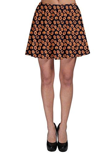 (CowCow Brown Halloween Pattern with Simple Cute Pumpkins Skater)