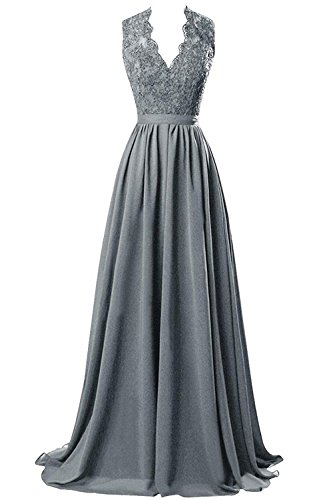 Silk Chiffon Dress Set (MARSEN Women's Modest V Neck Open Back Chiffon Long Evening Gown With Lace Grey Size 14)