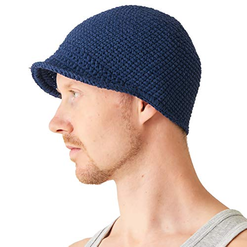 0e4ff1495d2 CHARM Mens Kufi Beanie Hat - Billed Skull Cap 100% Cotton Crochet Chemo  Peak Hat