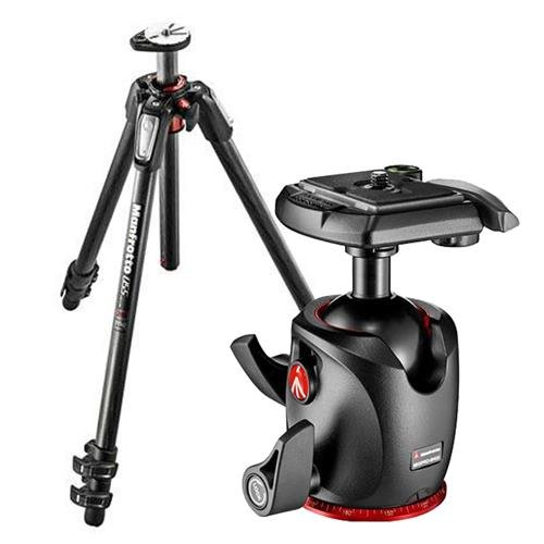 Manfrotto MT055CXPRO3 Carbon Fiber 3 Sections Tripod with Horizontal Column, 19.84lbs Load Capacity, 66.93'' Maximum Height - Bundle MHXPRO-BHQ2 XPRO Ball Head with Quick-Release