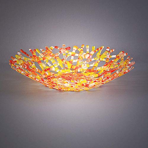 (Modern Glass Art Coral Sculpture Fruit Bowl in Red & Yellow)