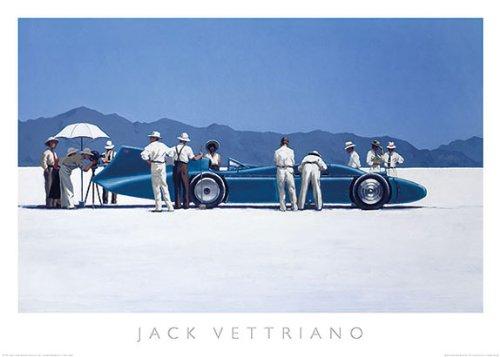 (Bluebird at Bonneville Jack Vettriano Vintage Racing Car Print Poster 27.5x19.5)