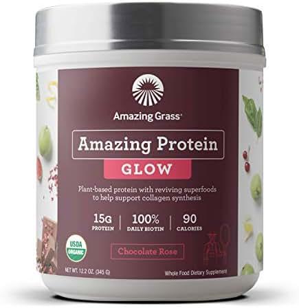 Amazing Grass GLOW Vegan Protein Powder: Organic Plant Based Collagen Support Protein Powder with Biotin Supplements, Chocolate Rose Flavor, 15 Servings