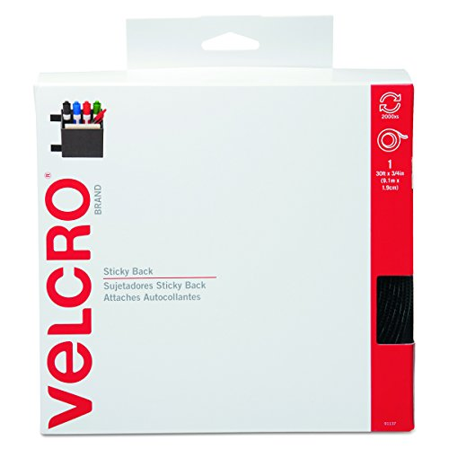 VELCRO Brand - Sticky Back Hook and Loop Fasteners | Perfect for Home or Office |  30 ft x 3/4 in Tape | Black by VELCRO Brand
