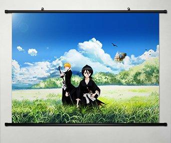Bleach Ichigo Rukia (Wall Scroll Poster Fabric Painting For Anime Bleach Kurosaki ichigo & Kuchiki Rukia 278)