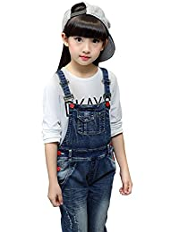 YJ.GWL Girls Ripped Casual Soft Denim Overalls