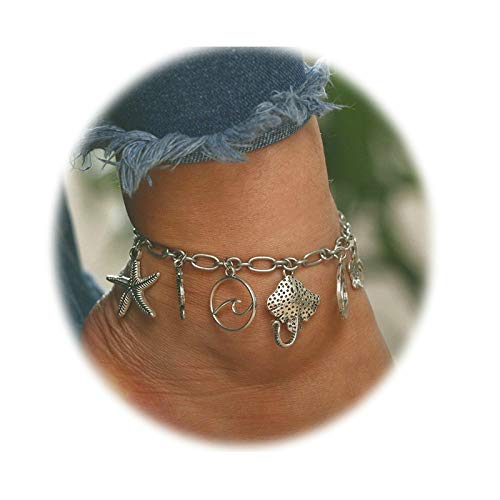 Aooaz Women's Anklet Alloy Anklets Seahorse Starfish Ankle Bracelets Silver Seahorse Starfish Retro (Retro Bracelet Ankle)