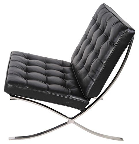 MCM Barcelona Style Modern Pavilion Chair (Black) - High Quality Italian Leather with Stainless Steel Frame - HS004BIL-1
