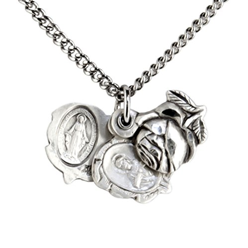 Sterling Silver Large Triple Slide Rose With Miraculous Pendant   18 Inch Rhodium Plated Chain   Clasp