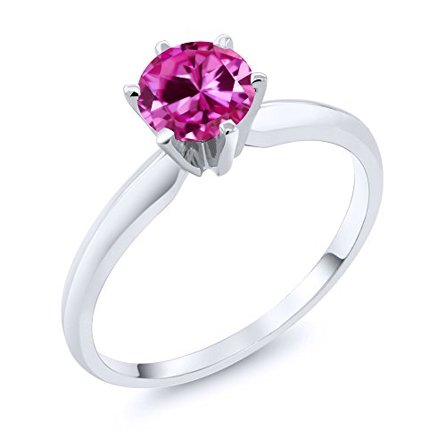 Gold Pink Sapphire Solitaire (1.00 Ct Pink Created Sapphire 14K White Gold Women's Engagement Solitaire Ring (Ring Size 8))