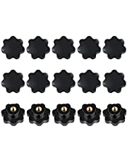 15 Pieces M8 Female Thread, Black Plastic Star Shaped Knob 8mm Star Head Clamping Screw Handle Knob Head Knob Clamping Nuts Knob Grip M8 Female for Machine Tools