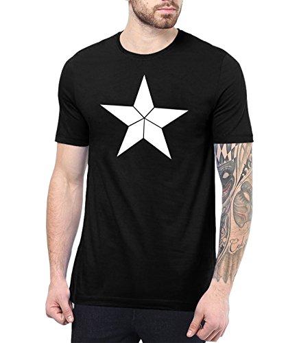 Decrum Mens Black Capt America Shield Shirt |Capt White Star L