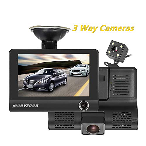 Car Dash Cam Front Inside Rear Video Recorder Camera with 4 inch Reverse Full Screen Driving Recorder DVR HD 1080P Night Vision Parking Mode Seamless Recording
