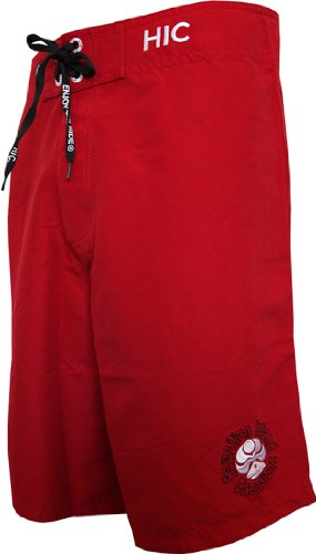 HIC Willmore Clean & Mean Peached Microsuede Boardshorts in Red - 28