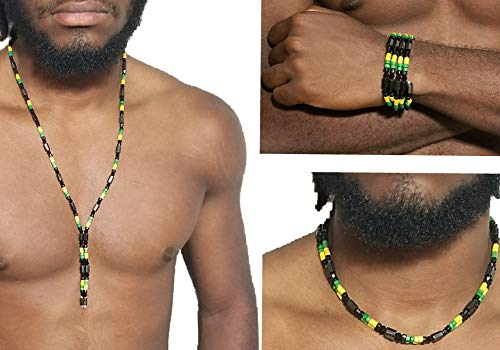ds Jamaican Rasta Style Beaded Necklace, Anklet or Wristband Chains Bracelet Wrist Bracelets Magnetic Hematite Metal for Arthritis Pain Relieve ()