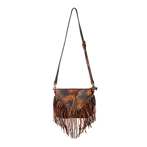 ZLYC Women Handmade Dip Dye Leather Fringe Bohemian Tassel Studed Cross Body Bag (Red Fire)