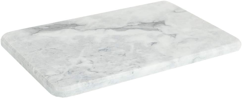Home Basics Multi-Purpose Pastry Marble Cutting Board Slab with Non-Slip Feet for Stability & Scratch Protection for Countertop, Easy to Clean, Trivet, White