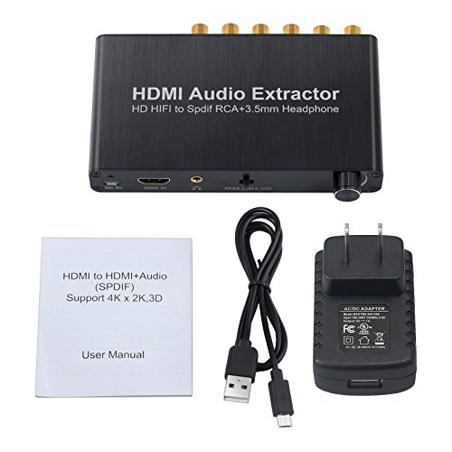 Proster HDMI Audio Extractor with Volume Adjustment 4K 3D DAC HDMI to Optical Spdif Toslink + Surround Analog 5.1CH Audio + 3.5mm Stereo Audio Converter for Blu-ray DVD Player Xbox One SKY HD Box PS3 by Proster