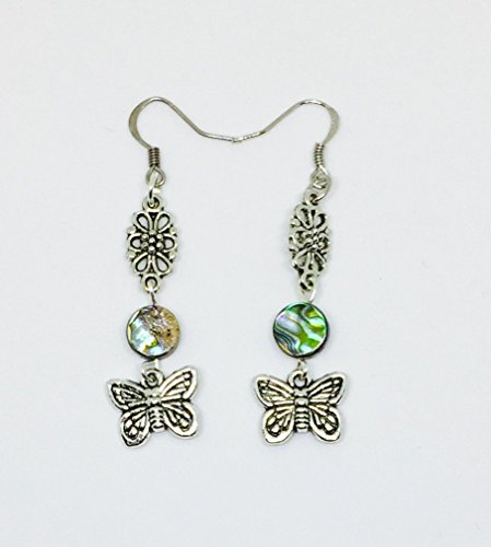 Butterfly Abalone Paua Shell Earrings//Butterfly Earrings//Shell Earrings//Abalone - Butterfly Paua Shell