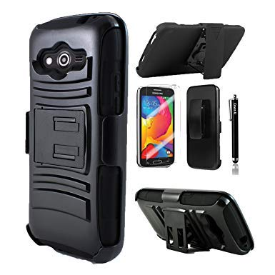 Cover-U Compatible with Galaxy Avant Case G386 Extreme Rugged Dual Layer Kickstand Combo Case with Belt clip Holster Black/Black Included [Premium Screen Guard + Stylus Pen] (Samsung Galaxy Avant G386 Case)