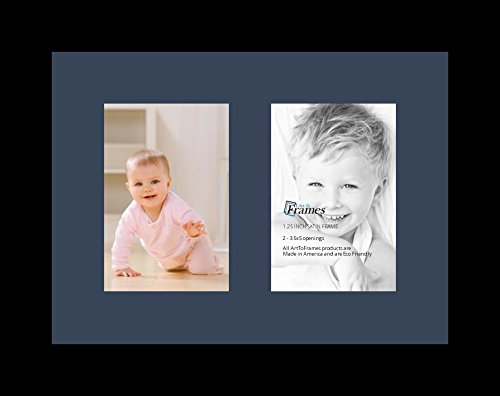 ArtToFrames Collage Photo Frame Single Mat with 2 - 3.5x5 Openings and Satin Black Frame.