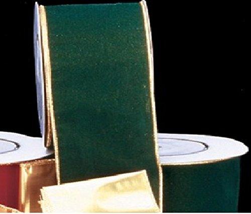 Gold Backed Hunter Green Velvet Wired Craft Ribbon 2