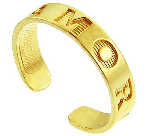 10k Yellow Gold AMOR Engraved Toe Ring (Engraved Toe Ring)