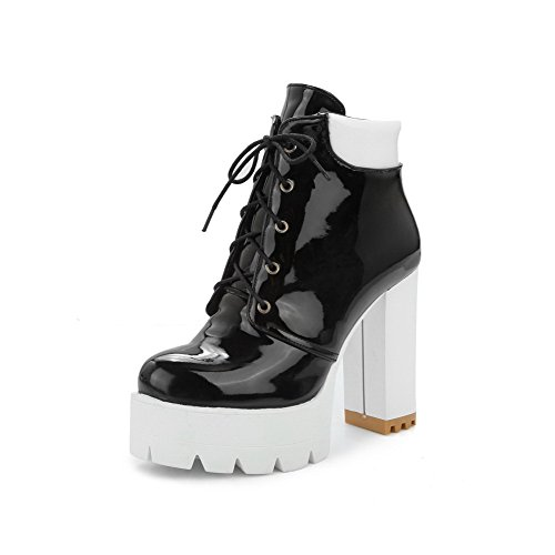 Assorted Toe Heels High Women's PU Closed Color Lace Round Boots up AgooLar Black FvZw5qXX