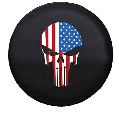 Sofu Spare Tire Cover, Wheel Cover with Skull PVC Leather Waterproof Dust-Proof Universal Fit for Jeep,Trailer, RV, SUV, Camper and Vehicle (16