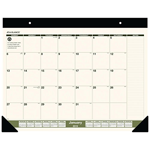 at-A-Glance Monthly Desk Pad Calendar, January 2019 - December 2019, 22