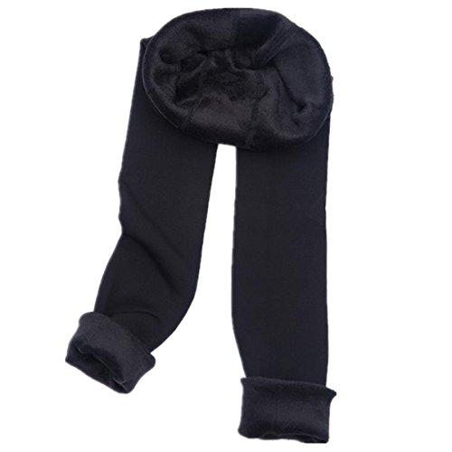 Leggings Elastic Warm Thick Velvet Cashmere Fleece Lined Thermal Stretch Leggings Pants Women Trousers (Free Size, Black) (Nylon Stretch Leggings)