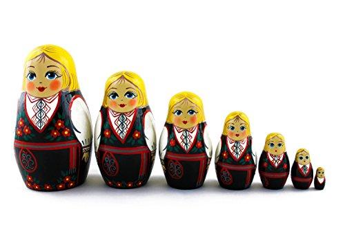 Russian Matryoshka Doll Costume (Matryoshka Norwegian Folk People National Costume Dress Babushka Russian Nesting Wooden Stacking Doll 7 Pcs)
