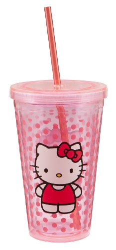 Vandor 18151 Hello Kitty 18 oz Acrylic Travel Cup with Lid and Straw, Pink]()