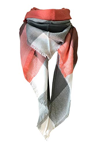 Stripe Knit Infinity Scarf - Wander Agio Womens Warm Scarf Triangle Shawls Large Scarves Stripe Plaid Fichu Orange Colour 9