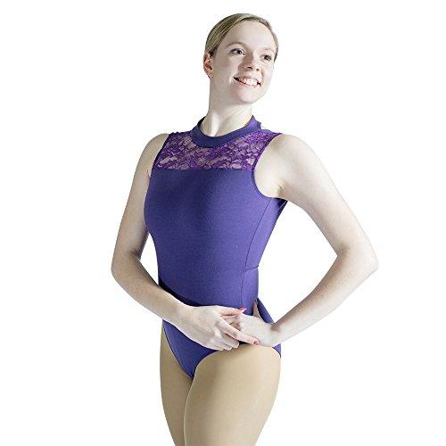en Ballet Dance Leotard Lace Lock Turtle Neck Cotton Blend Bodysuit (XL, Purple)…… ()
