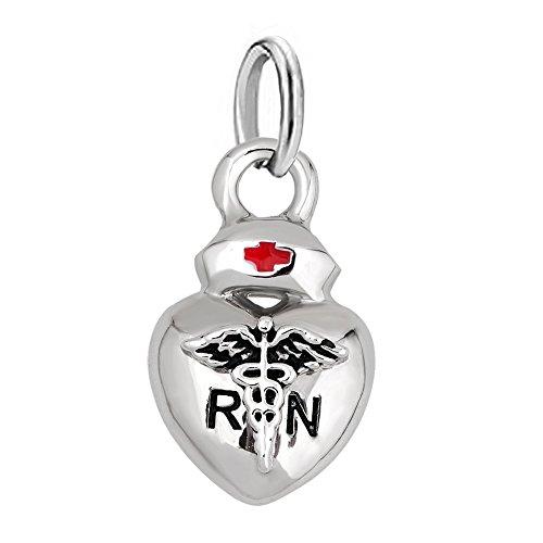 Charmed Craft Heart Love Nurse Charms Nurse Cap Red Cross Dangle Beads for Bracelets (dangle heart) ()