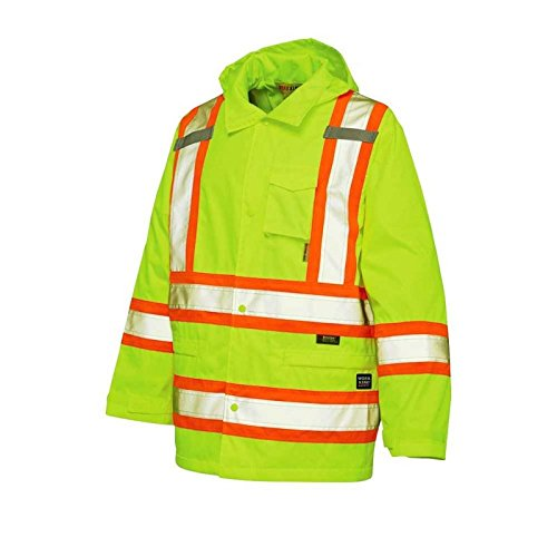 Work King Men's Hi-Vis Safety Rain Jacket, Fluorescent Yellow, Large by Work King