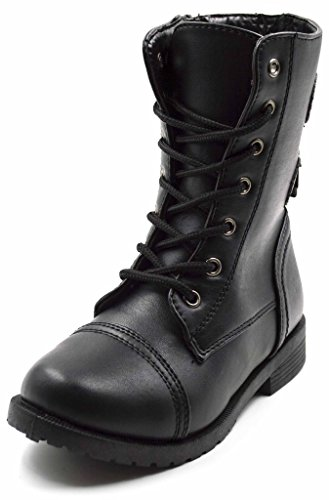 Simply Petals Girls Lace Up Military Combat Two Buckle Boot w/ Side Zip (Little Girl/Big Girl)